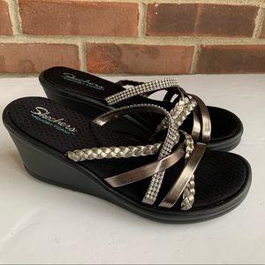Skechers slip on strappy wedge sandals